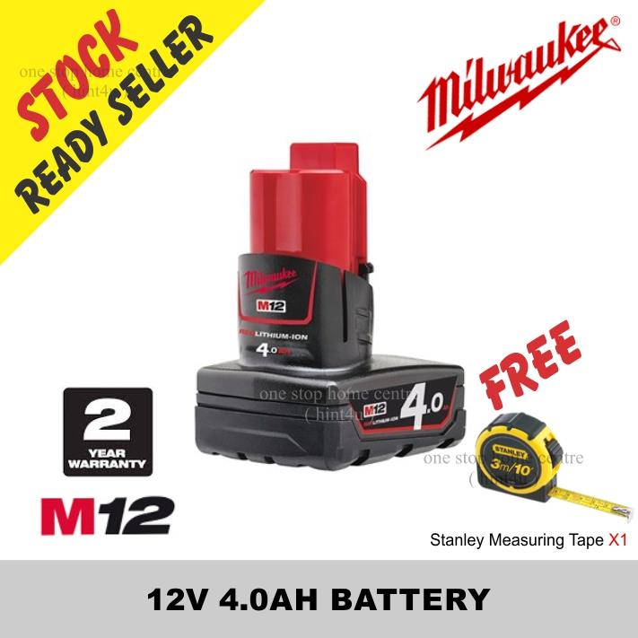 Free Stanley Tap x1) MILWAUKEE M12 12V 4.0AH LITHIUM ION BATTERY