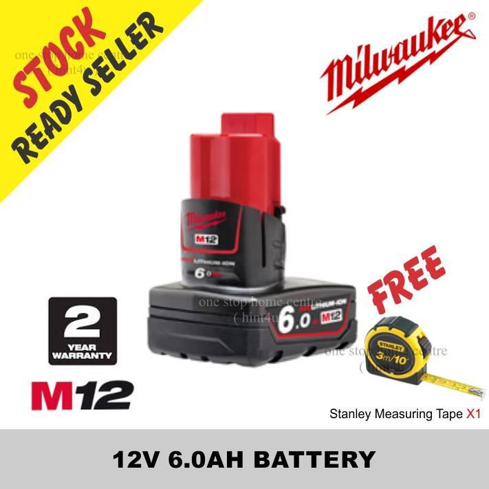 Free Stanley Tape x1) MILWAUKEE M12 12V 6.0AH RED LITHIUM ION BATTERY