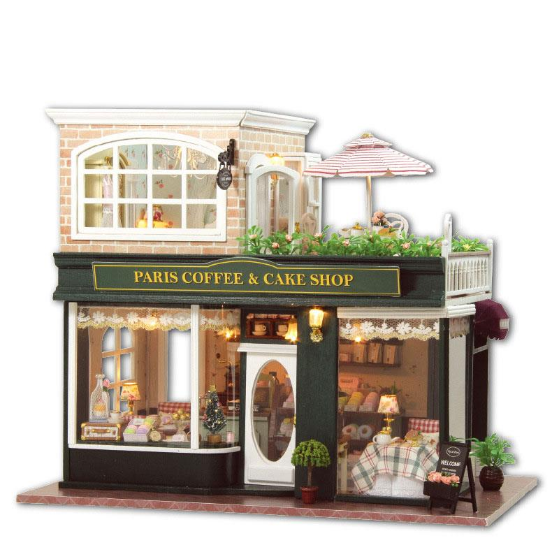 French Cafe & Cake House Light / Anti-dust Cover DIY Miniature Doll Ho