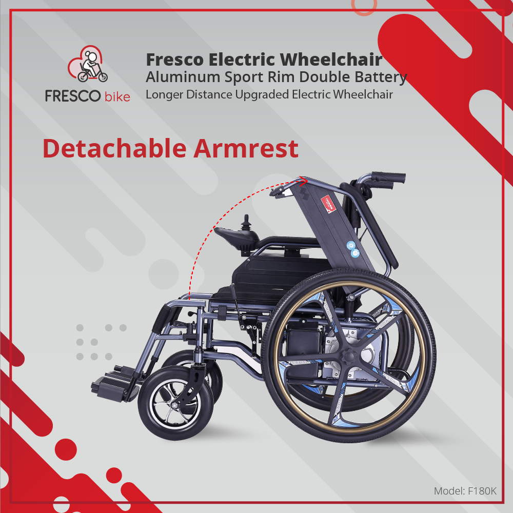 Fresco Electric Wheelchair Aluminum Sport Rim Double Battery