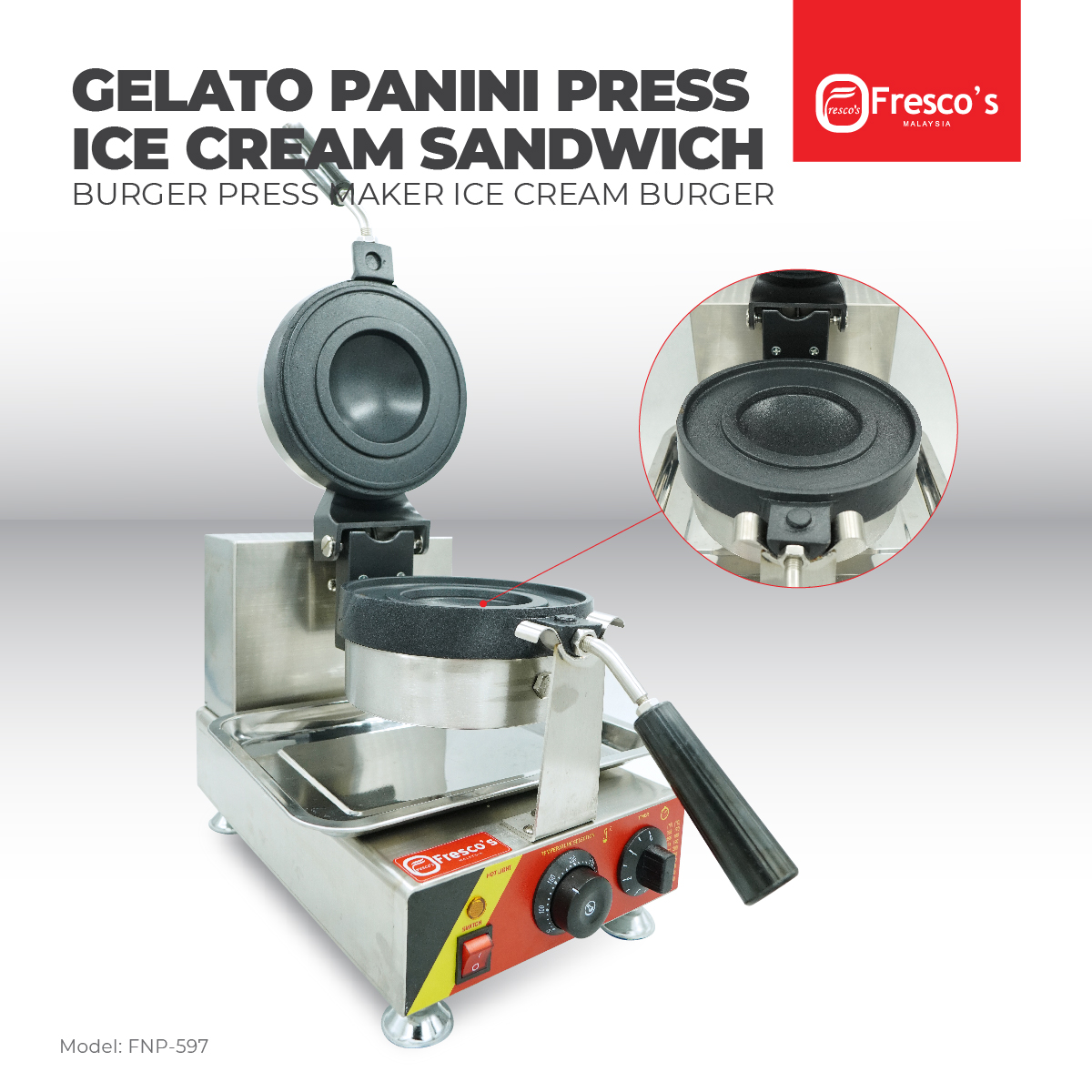 Fresco Gelato Panini Press Ice Cream Sandwich Machine