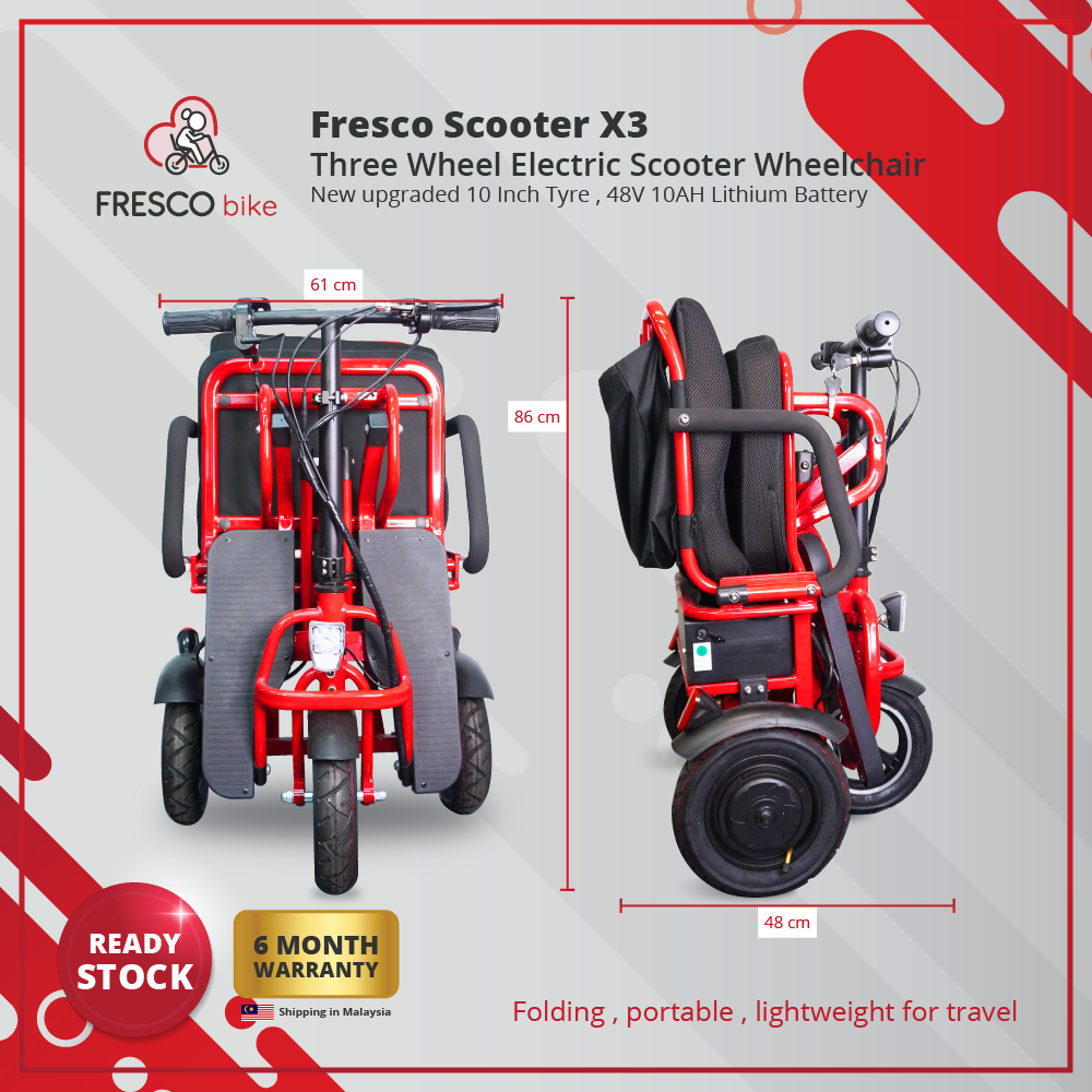 FRESCO SCOOTER X3 THREE WHEEL ELECTRIC SCOOTER