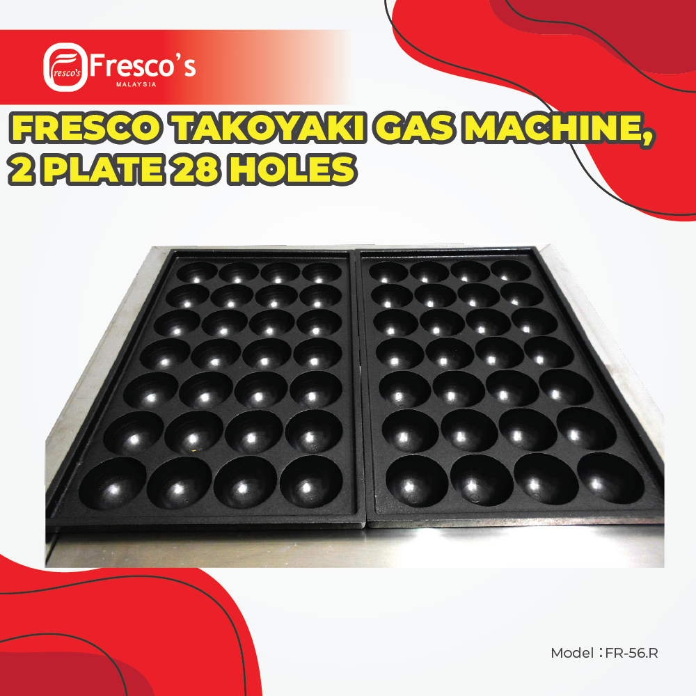 Fresco Takoyaki Gas Machine FR-56.R , 2 plate 28 Holes