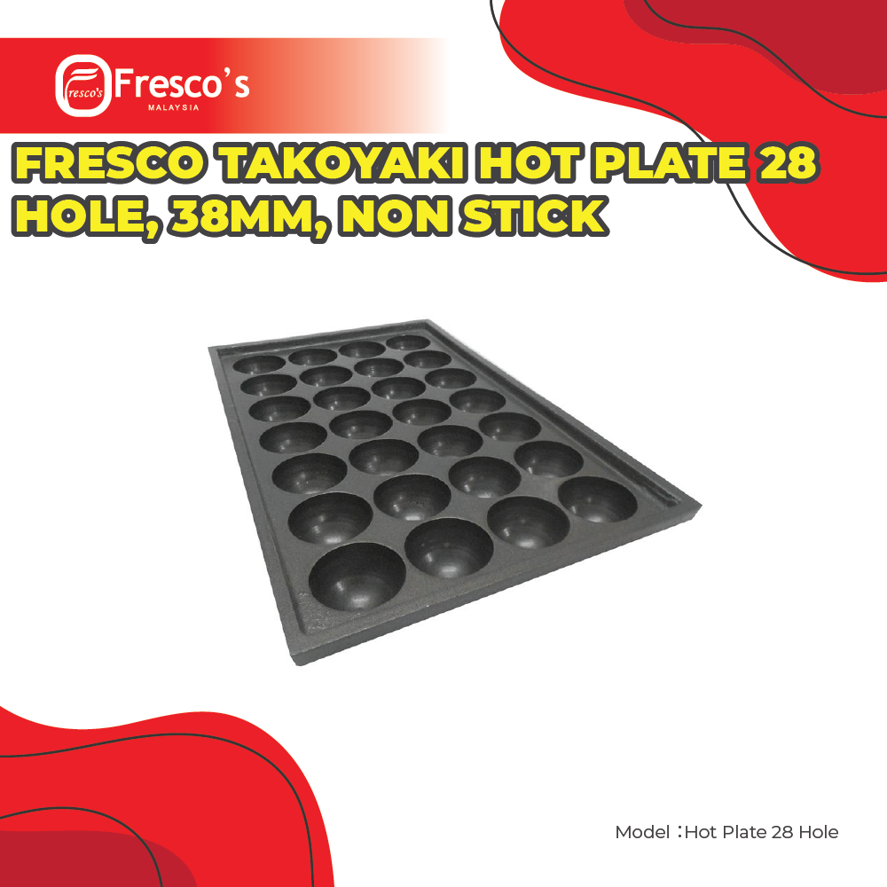 Fresco Takoyaki Hot Plate 28 Hole , 38mm Hole Size , Non Stick
