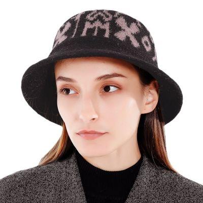Fresh Geometric Print Women Cap Knitting Female Travel Bucket Hat (BLACK)