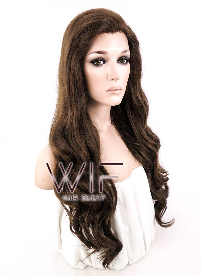 Front lace wig ready stock brown wavy hair wig 24inches