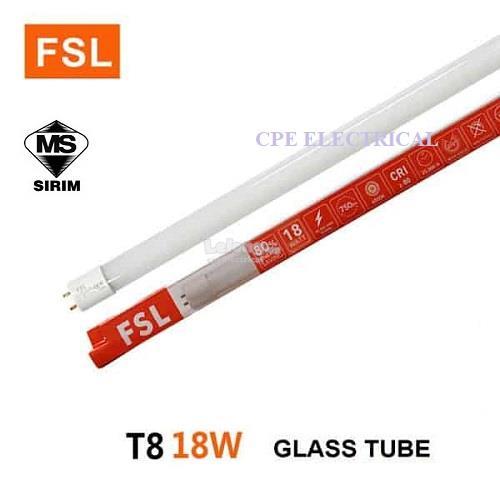 fsl t8 4-feet (1 2meter) led tube, 18w x 25lths  ‹ ›