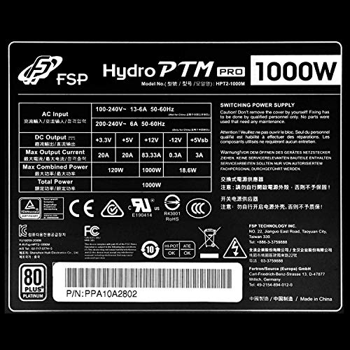 FSP Hydro PTM Pro 1000W 80 Plus Platinum Full Modular ATX 12V Power Supply (HP