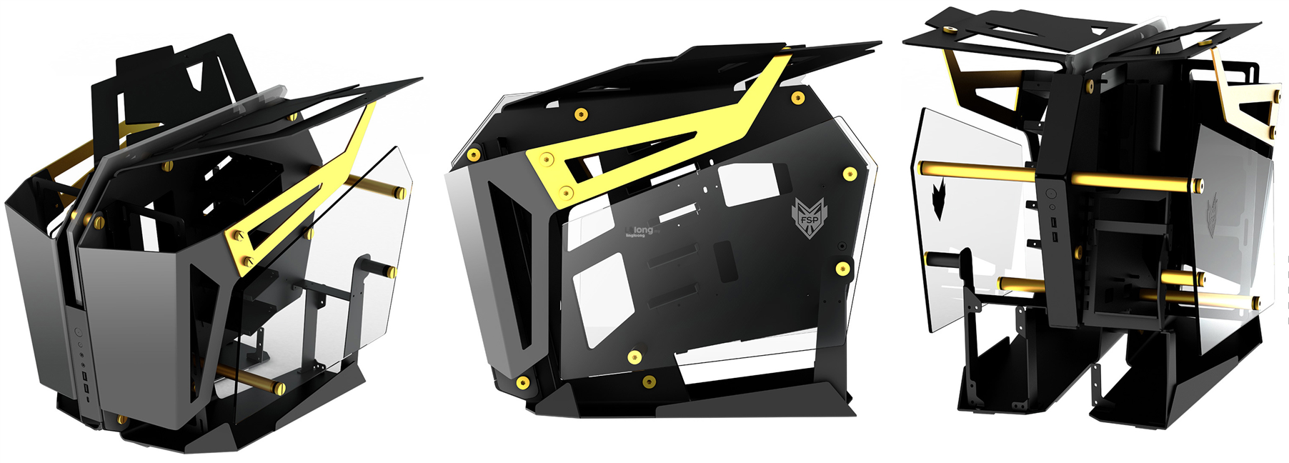# FSP T-Wings CMT710 Open Frame 2in1 Chassis # Gold Color