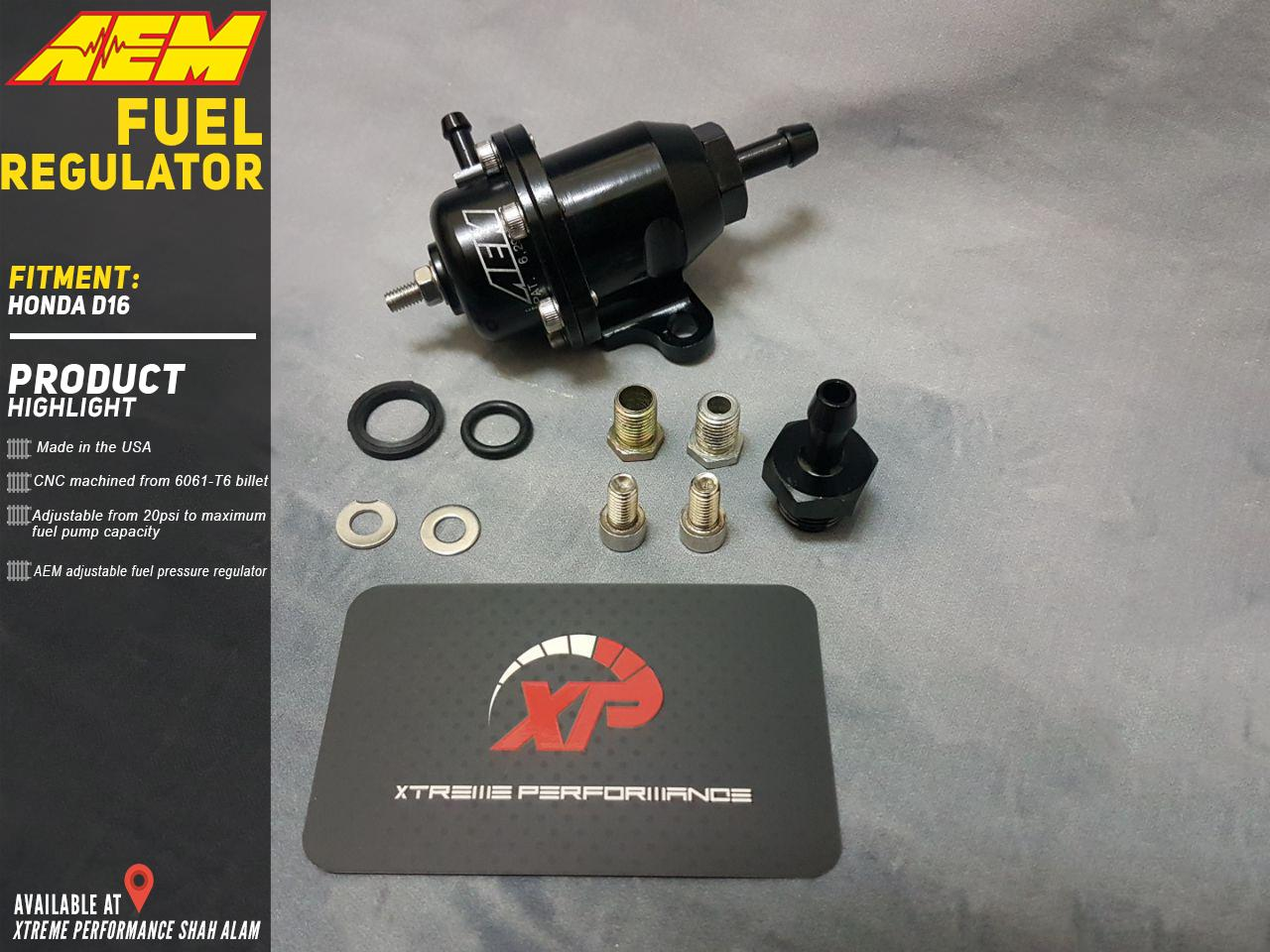 Fuel regulator AEM For Honda D16 Black anodized