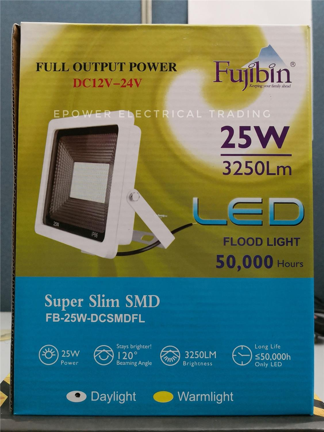 FUJIBIN 12V-24V 25W SUPER SLIM LED FLOOD LIGHT IP65 3250LM 6000K