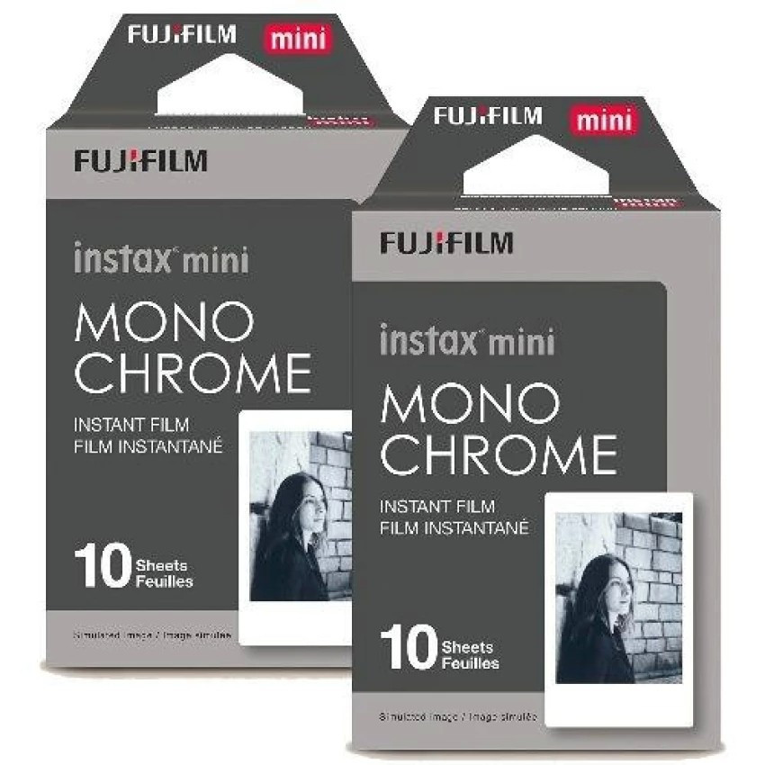 FUJIFILM 2 BOXES OF 10 PRINTS INSTAX MINI MONOCHROME FILM