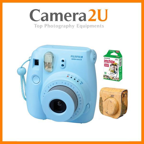 New Fujifilm Instax Mini 8 (Blue) + Mini Film 2 Pack + Leather Case