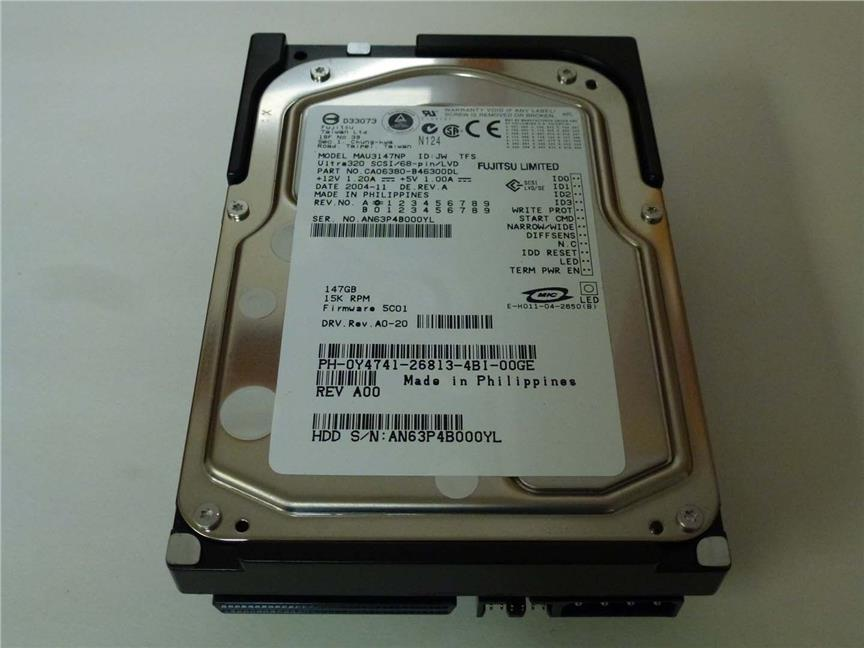 "Fujitsu WorlDisk 146GB 147GB 15K 68pin U320 Ultra 320 3.5"" Hard Drive"