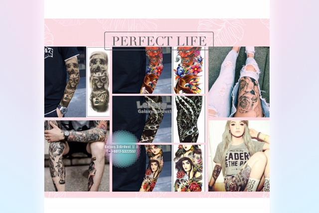 8b5ff0fa2 Full Sleeve Arm Thigh Tattoo Sticker-Tough Sexy Women Men Mafia Macho. ‹ ›