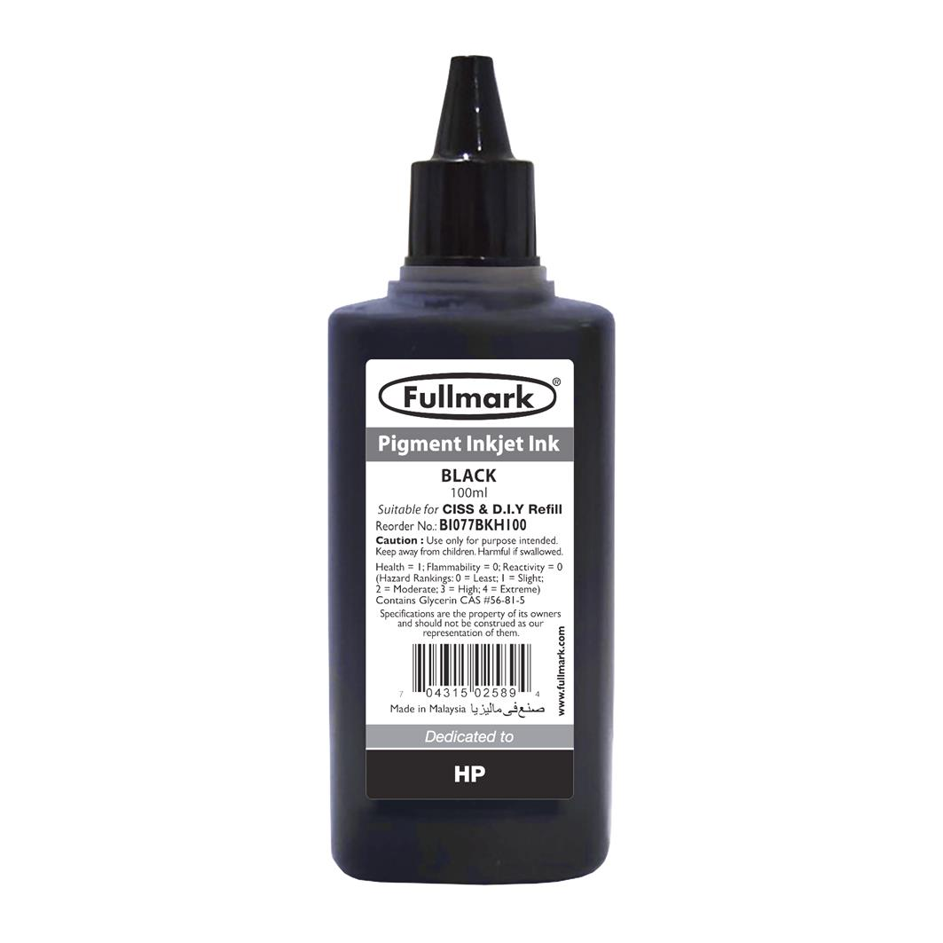 Fullmark Pigment Inkjet Ink 100ml (Black) - Compatible with HP