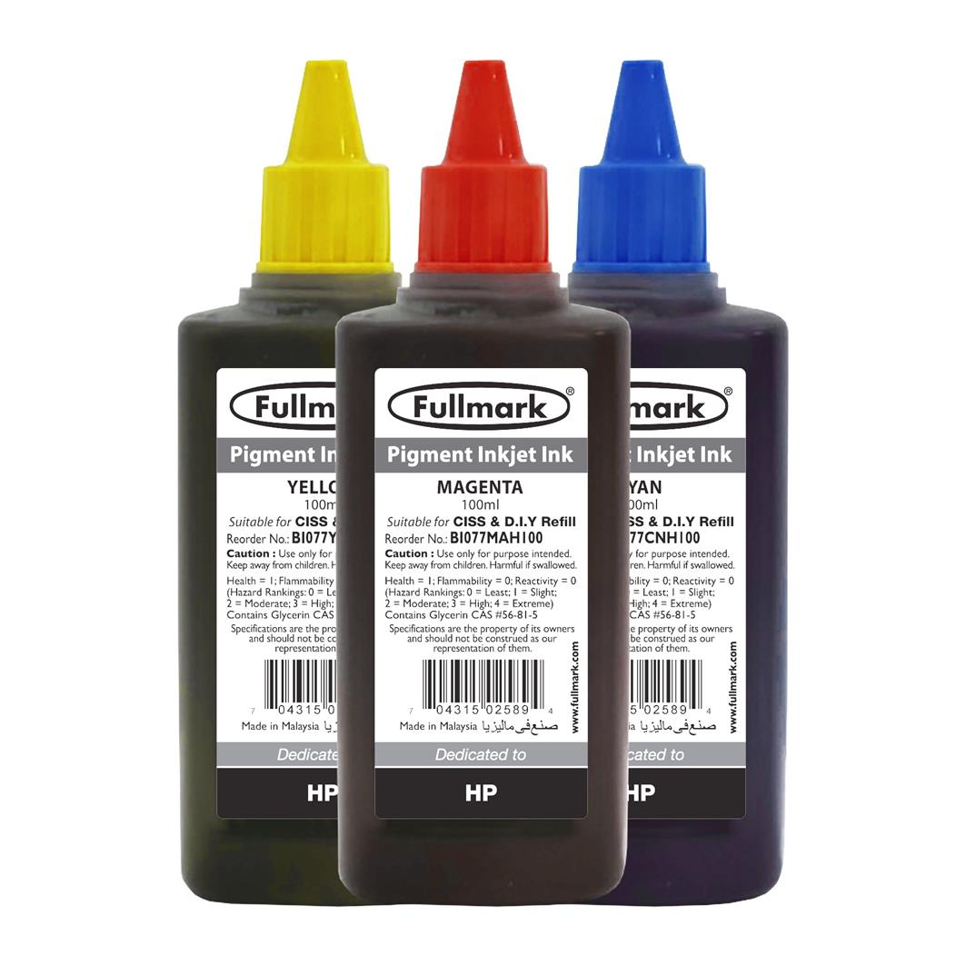 Fullmark Pigment Inkjet Ink 3 Bottles Value Pack - Compatible with HP