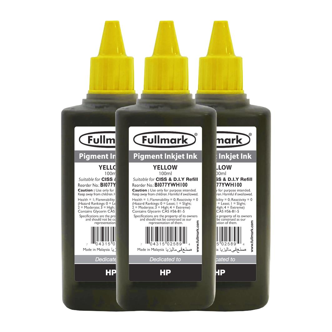 Fullmark Pigment Inkjet Ink 3 Bottles(Yellow) - Compatible with HP