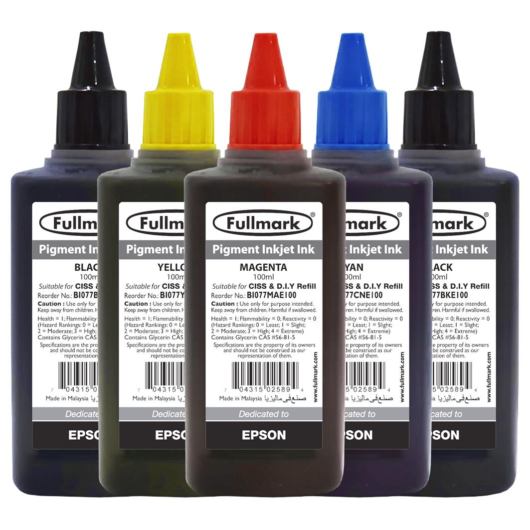 Fullmark Pigment Inkjet Ink 5 Bottles Value Pack-Compatible with Epson