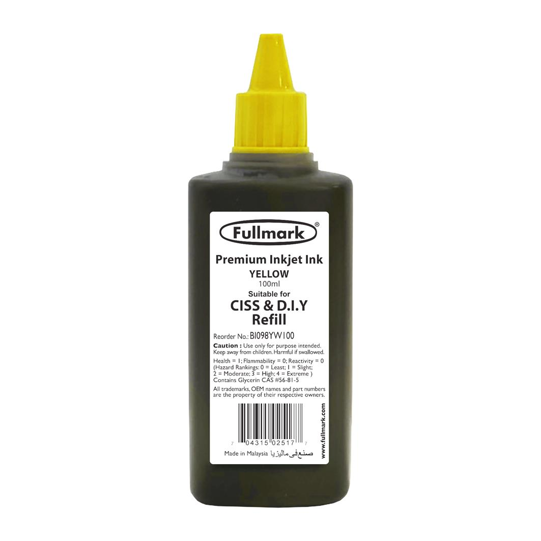 Fullmark Premium Inkjet Ink 100ml (Yellow) - Compatible with HP