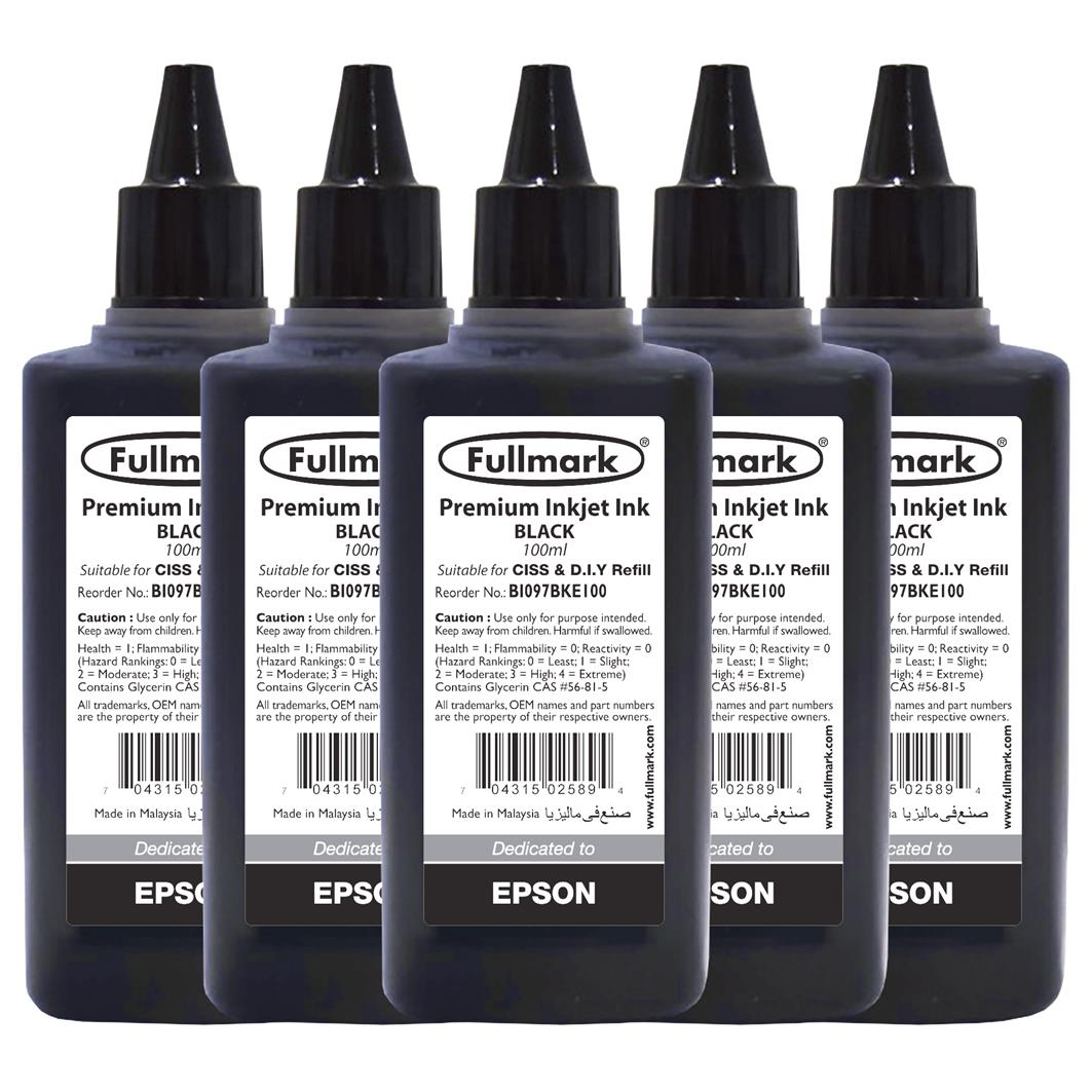 Fullmark Premium Inkjet Ink 5 Bottles(Black) - Compatible with Epson