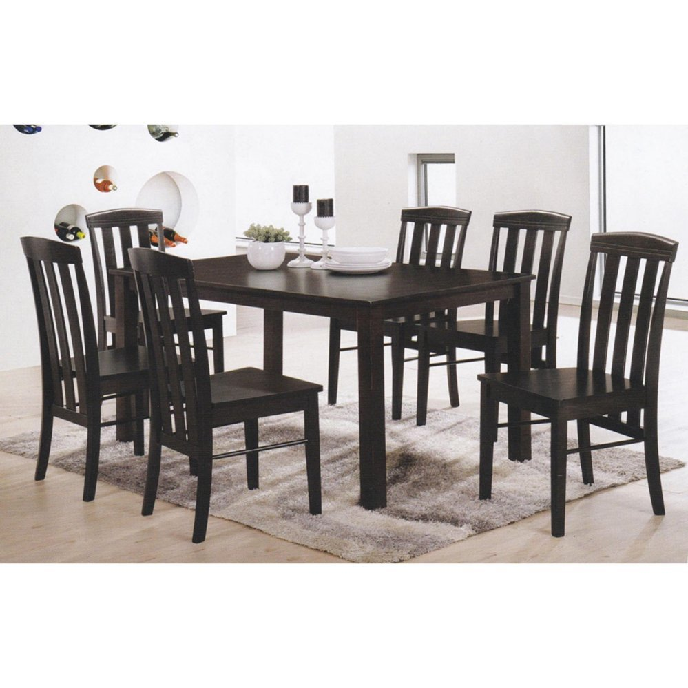 Super Fully Solid Wood 1 6 Dining Table Chair Set Dark Brown Download Free Architecture Designs Ferenbritishbridgeorg