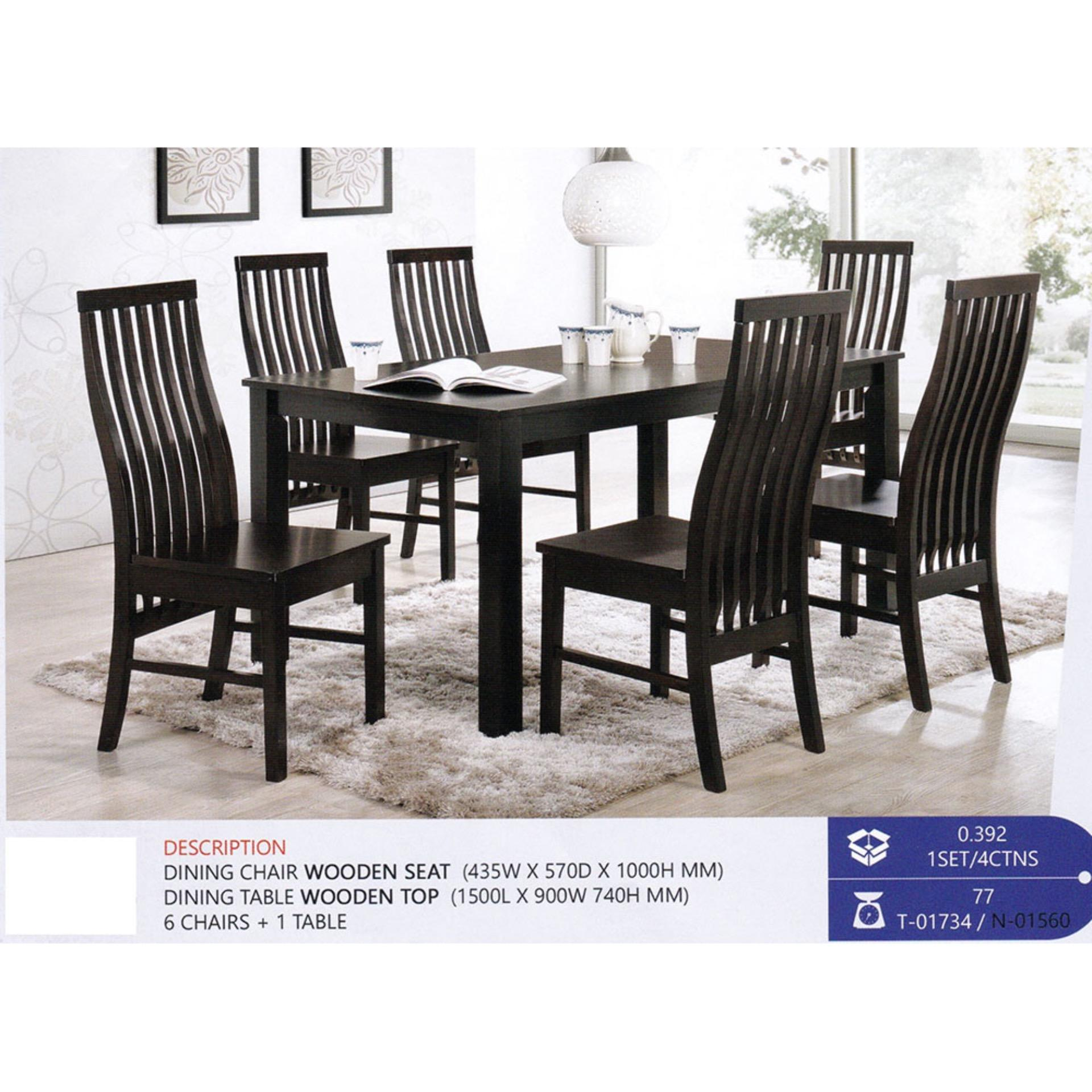 sc 1 st  Lelong.my & Fully Solid Wood 1+6 Dining Table Ch (end 5/2/2021 12:00 AM)