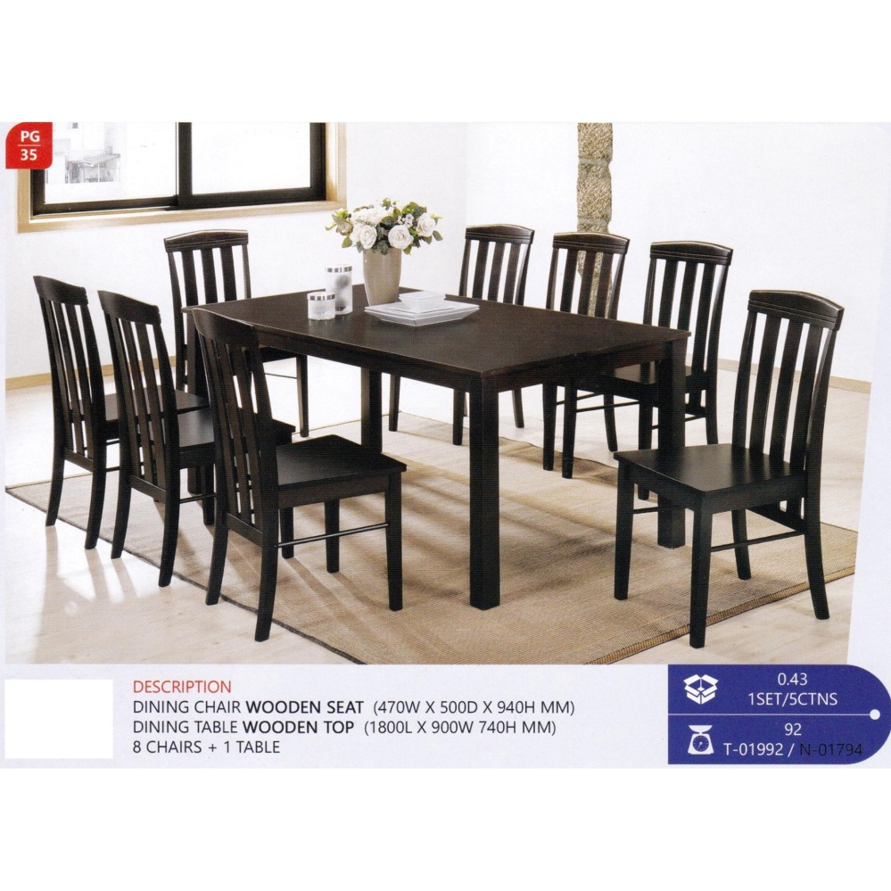 Brilliant Fully Solid Wood 1 Dining Table 8 Dining Chairs Set Dark Brown Color Download Free Architecture Designs Ferenbritishbridgeorg