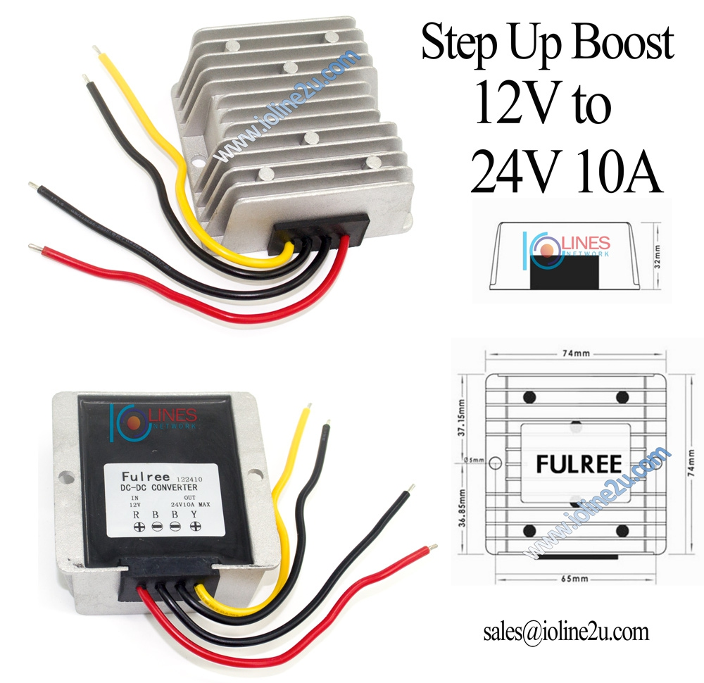 Fulree 12V 10V~20V to 24V 10A 240w DC-DC power converter Step Up Fully sealed
