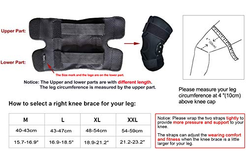 FunCee Hinged Knee Brace, 4 available sizes Adjustable Compression Wrap for Me