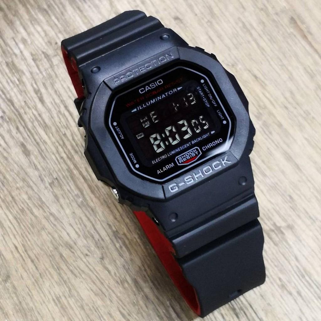 G Shock Dw5600 Full Black Red