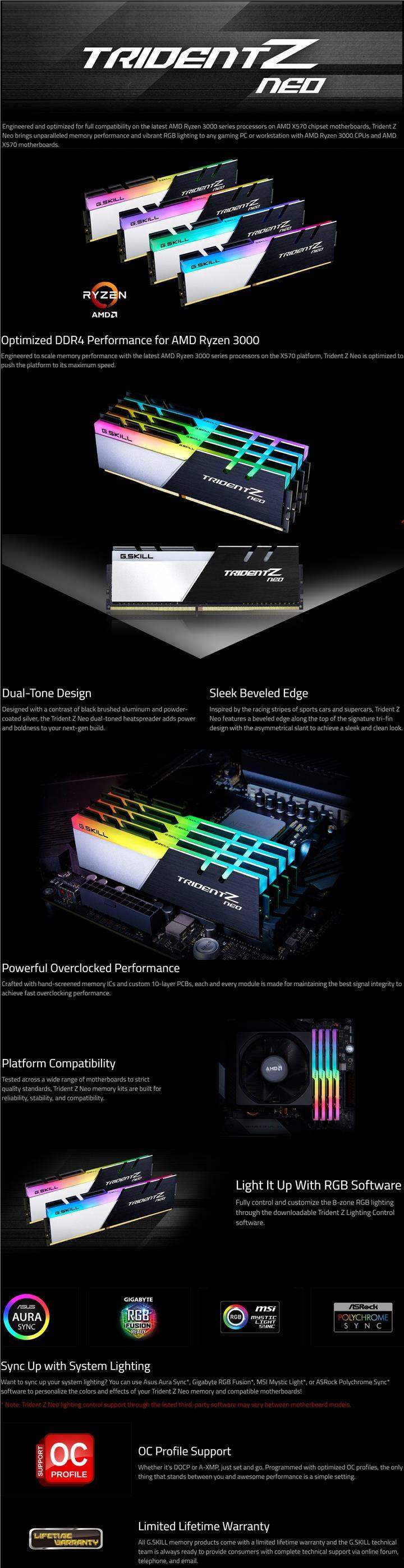 G SKILL TRIDENT Z NEO 16GB (2x8GB) DDR4 3600MHz CL18 RGB RAM