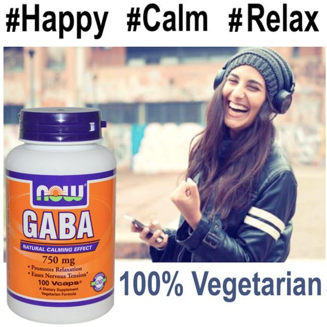 GABA 750mg 100Vcap, (Anxiety, Depression, Relax, Calm) 100% Vegetarian