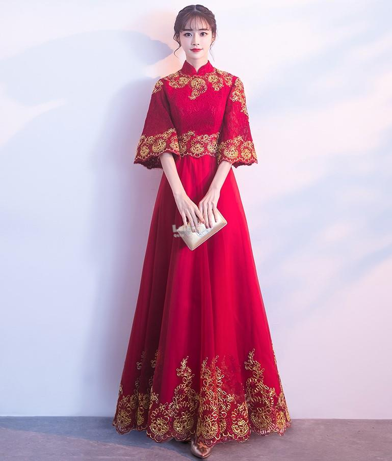 Gala Day 2018OT – Oriental Red-Lace Bell-Sleeve Cheongsam