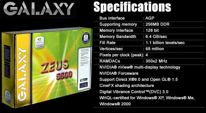 GALAXY FX5500 256MB DDR 128BIT AGP GRAPHIC CARD