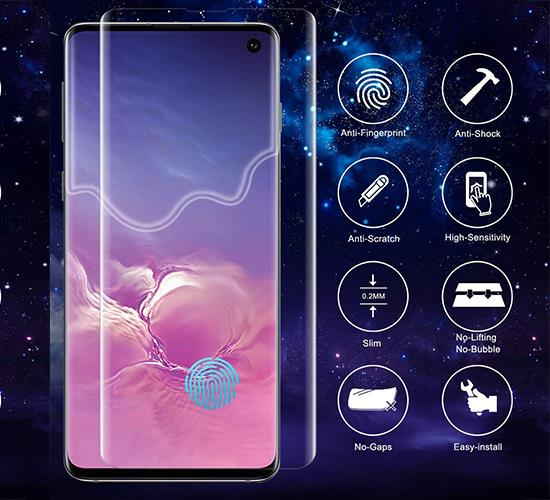 Galaxy S10 Plus Tempered Glass Screen Protector, Anti-Fingerprint, no