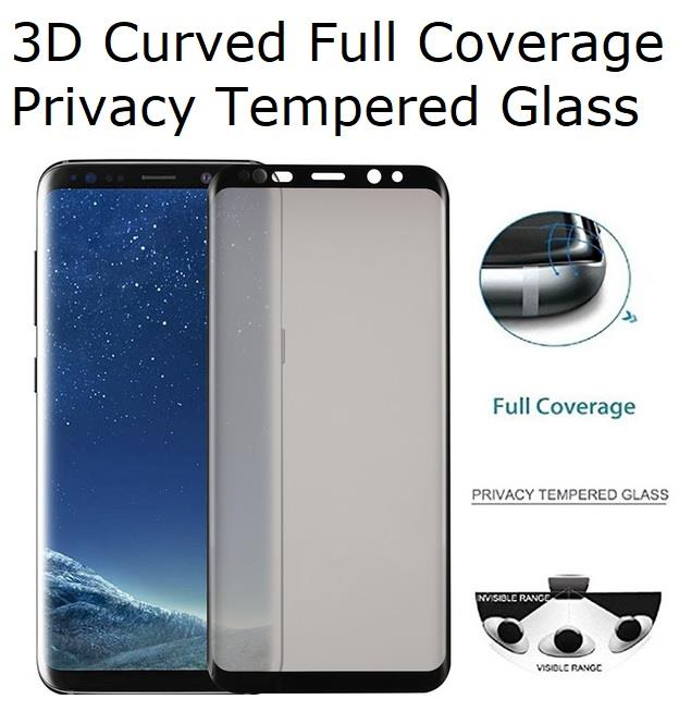 Galaxy S8+ Plus 3D Curved Privacy Full Screen Coverage Tempered Glass