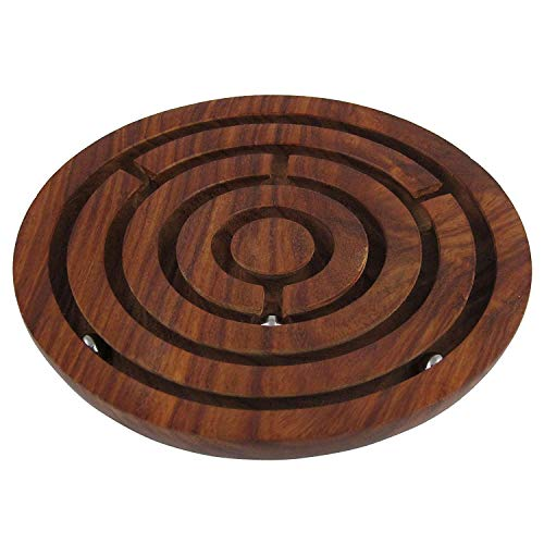 Game Labyrinth, Ball-in-a-Maze Puzzles, Handcrafted in India - Round