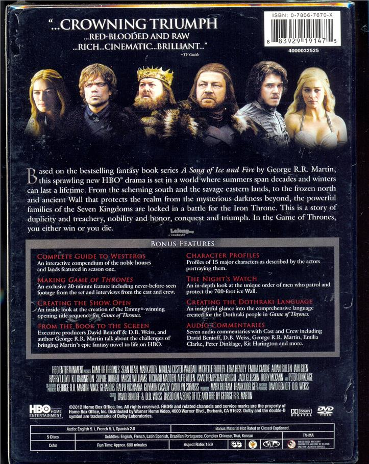 Game Of Thrones The Complete First Season - New DVD