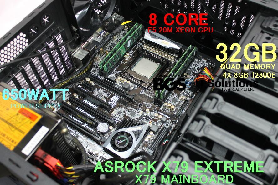 Gaming Desktop System, Asrock X79, E5 CPU +Heatsink+CASING +16GB RAM