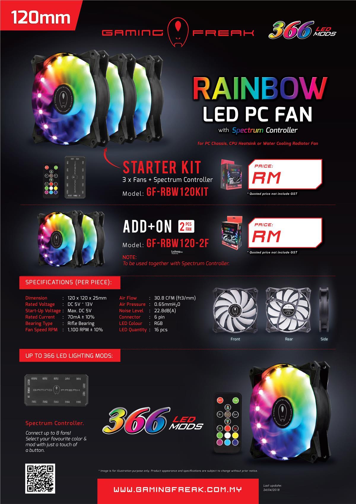 # GAMING FREAK Rainbow LED PC Fan - Starter Kit #