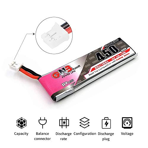 GAONENG 450mAh 1S HV 3.8V LiPo Battery 80C JST-PH 2.0 PowerWhoop mCPX Connecto