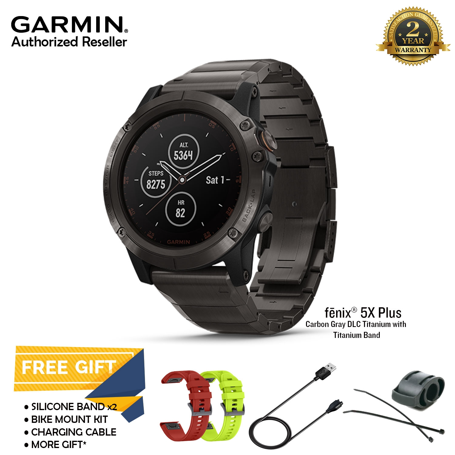 Garmin Fenix 5X Plus Gray DLC Titanium with Titanium Band Multisport G