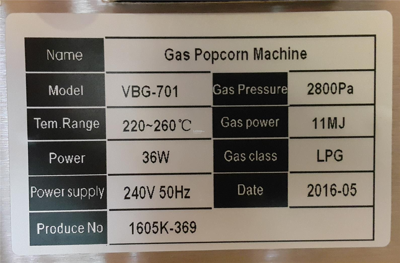 Gas Popcorn Machine Single head  ID999736