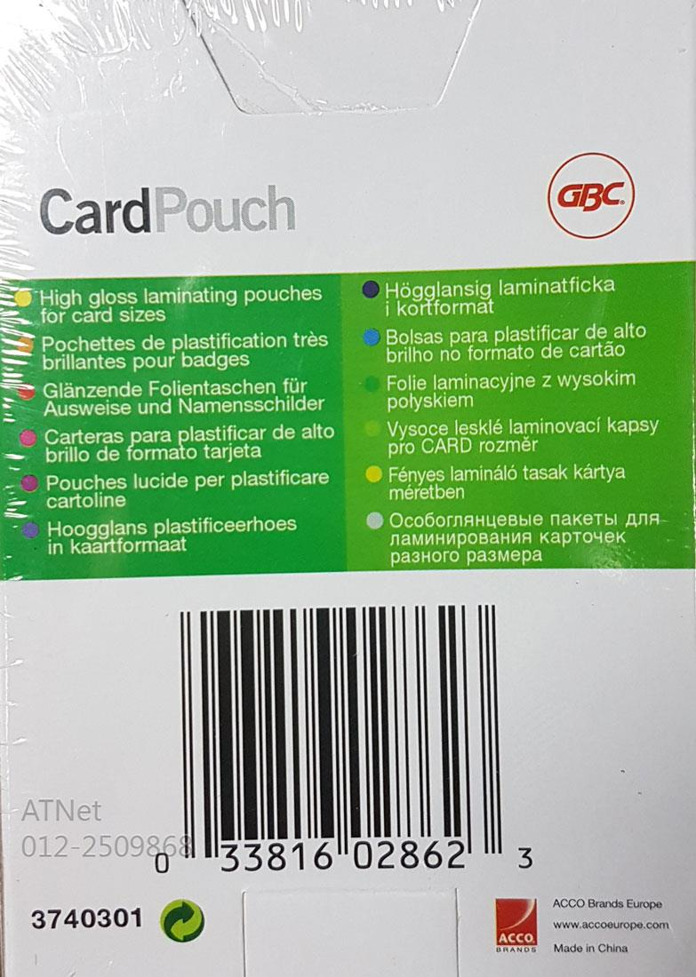 GBC GOVERNMENT CARD LAMINATING POUCH 65X95MM GLOSS 100PCS