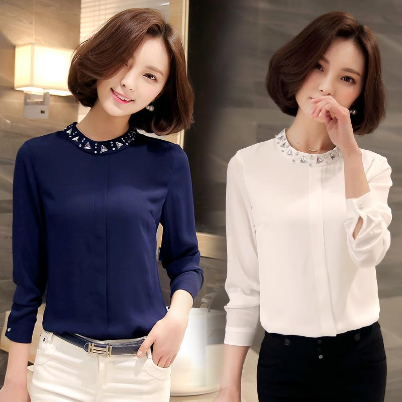 GC Women's Chiffon Long Sleeve Blouse Crystal Decorated Shirt Collar. ‹ ›