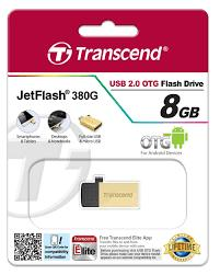 GDT. TRANSCEND OTG FLASH DRIVE  USB2.0 JETFLASH JF380 8GB GOLD/SILVER