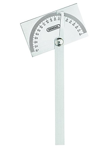 General Tools 17 Square Head Stainless Steel Angle Protractor, 0 to 180 Degree