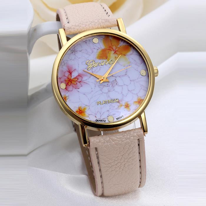 Geneva Floral Leather Band Quartz Watch