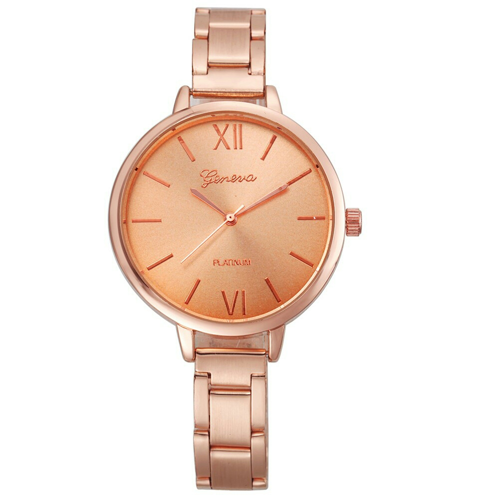 Geneva Stainless Steel Quartz Elegant Fashion Women Lady Wrist Watch